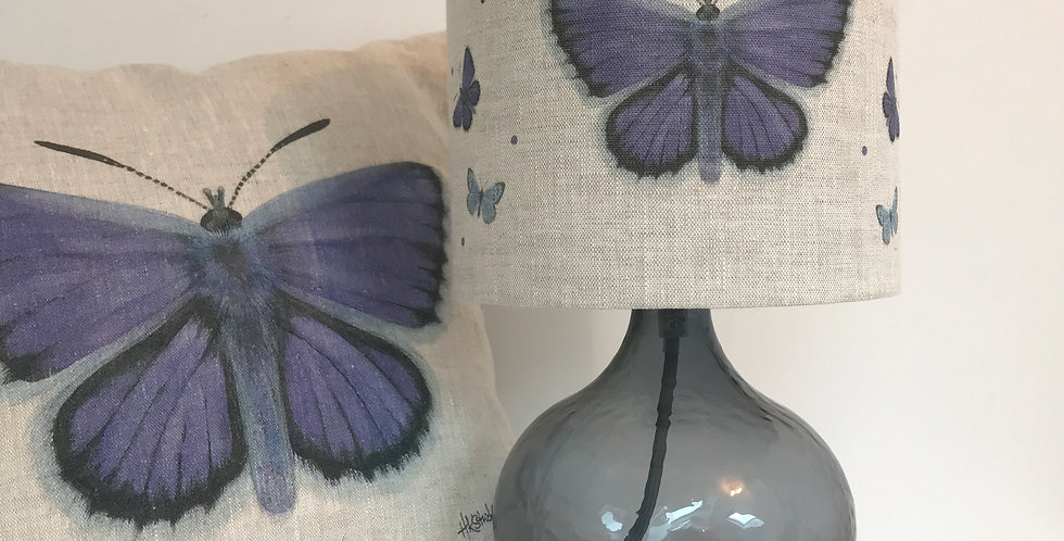Silver Studded Blue Lampshade