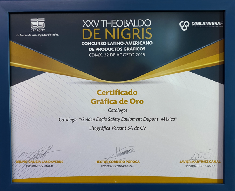 Certificado Gráfica de Oro 2019