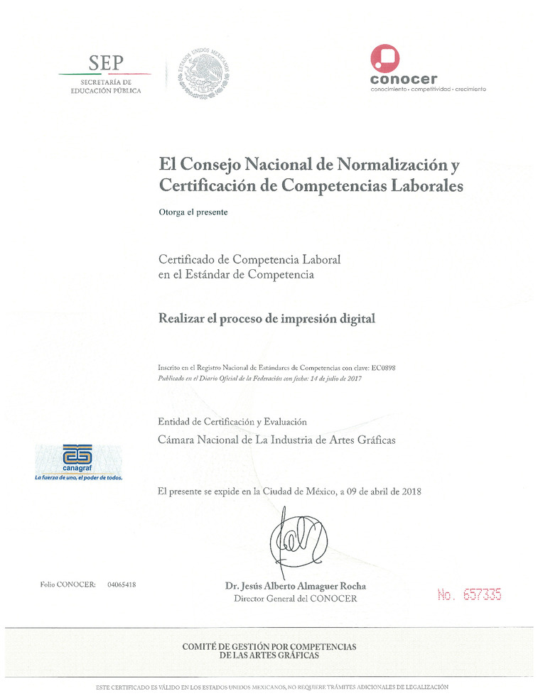 Certificado Impresión Digital 2018