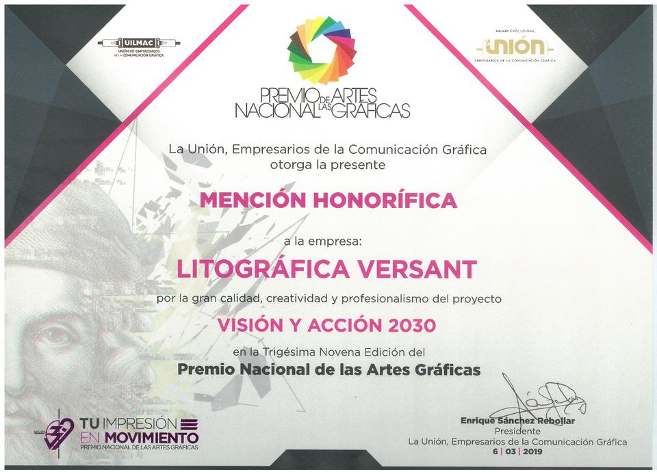 Mención Honorífica PNAG 2019