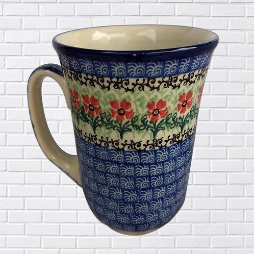 Polish Ceramic Mug, Blue w/Orange Flowers