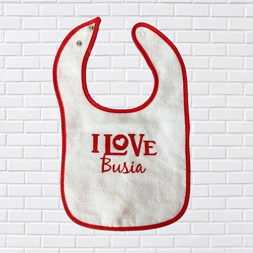 I Love Busia Bib