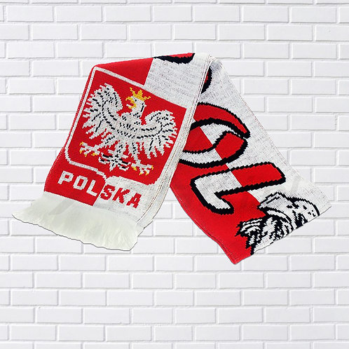 "Polish ""Eagle Head"" Fan Scarf, Red & ?White"