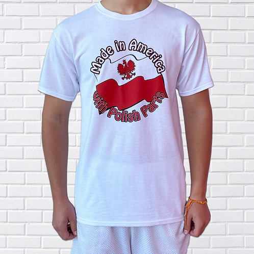 Polish T-Shirt, Made in America With Polish Parts, White