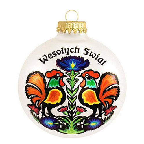 Wesolych Swiat Rooster Polish Ornament