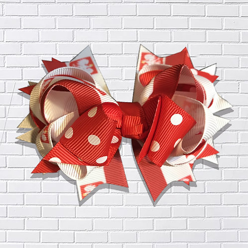 Polish Hair-Bow, Folk Art, Red & White