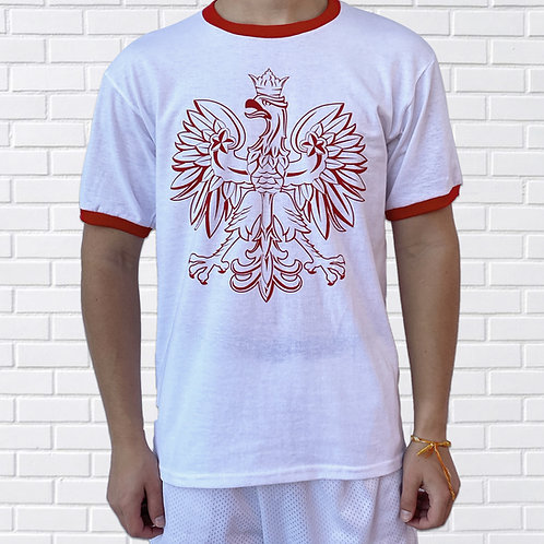 Polish Eagle T-Shirt, White Ringer