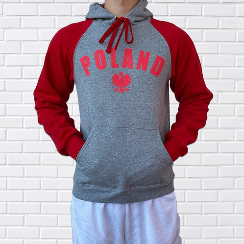Polish Hoodie, Colorblock Grey with Red