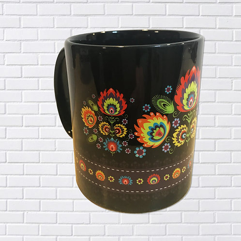Polish Mug, Black Folk Art