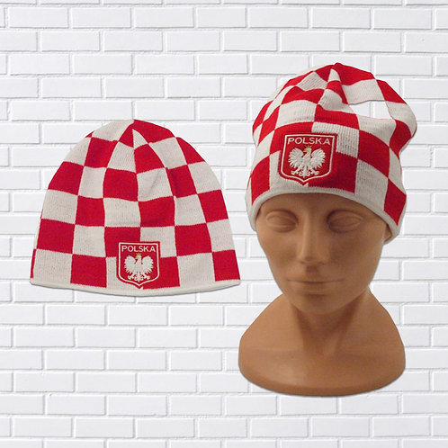 Polska Eagle Knit Cap, Red & White Checkers