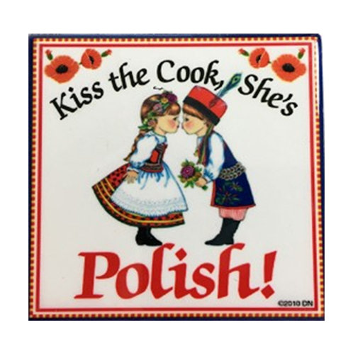 Polish Tile Magnet, Kiss the Cook