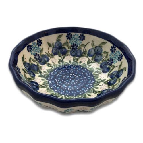 Polish Pottery 4″ Scalloped Bowl – Blueberry Garden