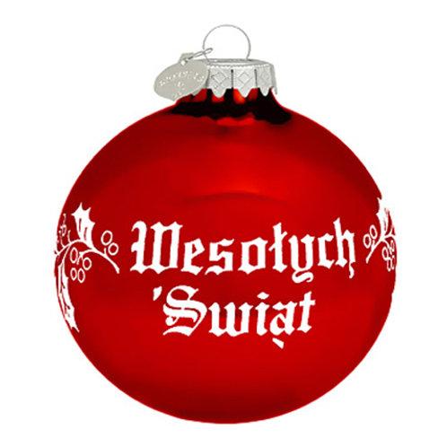 Wesolych Swiat Red Polish Ornament