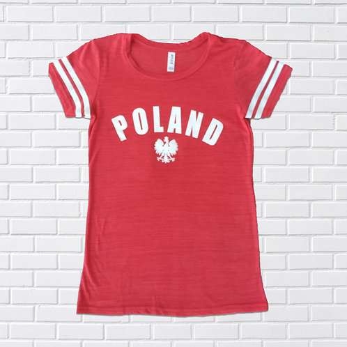 Polish Eagle T-Shirt, Women's Double Stripe, Assorted Colors