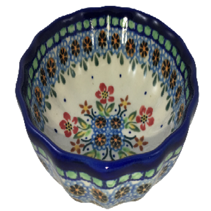 Polish Pottery 4″ Scalloped Bowl – Garden Party