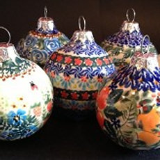 Polish Pottery Ball Ornament, Assorted Styles