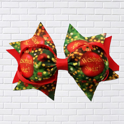 Polish Hair-Bow, Merry Christmas, Red & Green