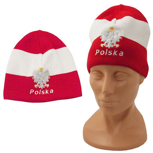 Polska Eagle Knit Cap, Red w/White Strip