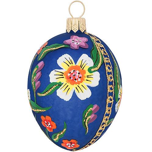 Polish Ornament, Pisanski Egg - Blue