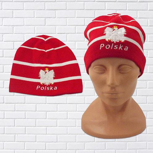 Polska Eagle Knit Cap, Red w/Thin White Stripes