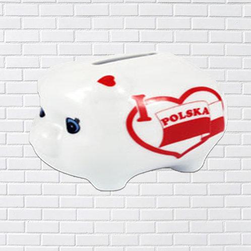 Ceramic Piggy Bank, I Love Polska