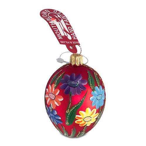 Polish Ornament, Glass Pisanki, Pysanki (Red)