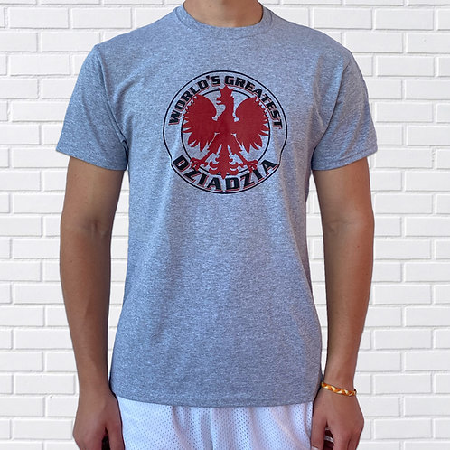 Polish T-Shirt, World's Greatest Dziadzia, Grey