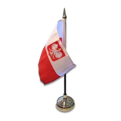 Mini Poland Flag On Stand 4 in. x 6 in.