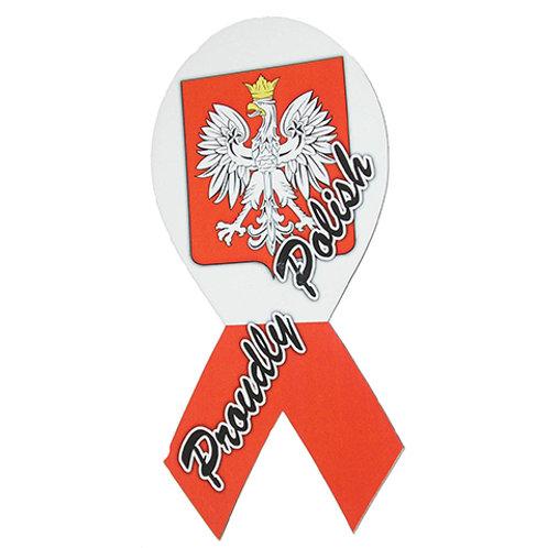 Polish Car Magnet, Proudly Polish Ribbon