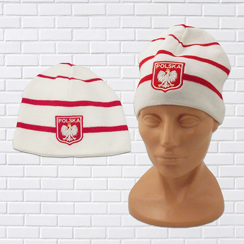 Polish Eagle Knit Hat, White with Thin Red Stripes (Shield)