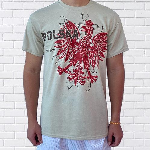 Polish T-Shirt, Offset Eagle – Tan