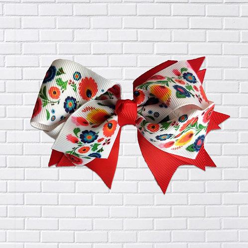 Polish Hair-Bow, Folk Art, Red