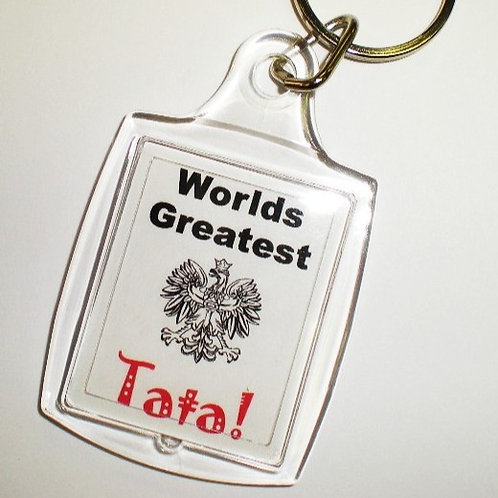 Polish Keychain, Worlds Greatest Tata (Dad)