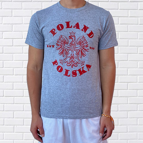 Polish T-Shirt, Poland/Polska est. 966 - Grey or Red
