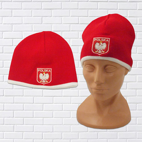 Polish Eagle Knit Hat, Red with White Trim (Shield)