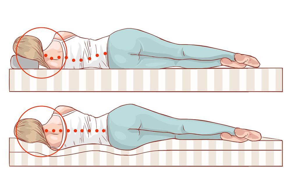 Cartoon of side sleeping correct pillow height