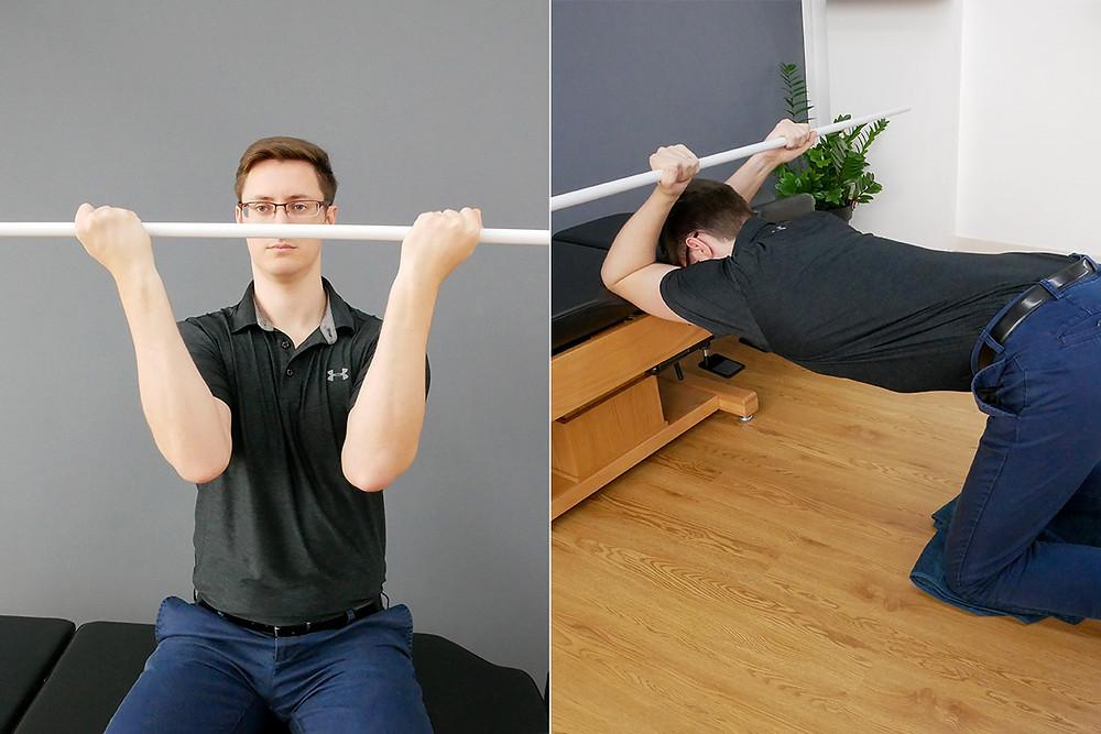 kneeling latissimus shoulder back stretch