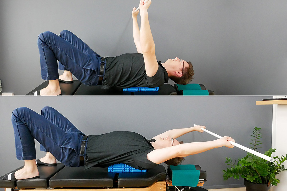 overhead chest stretch with pipe