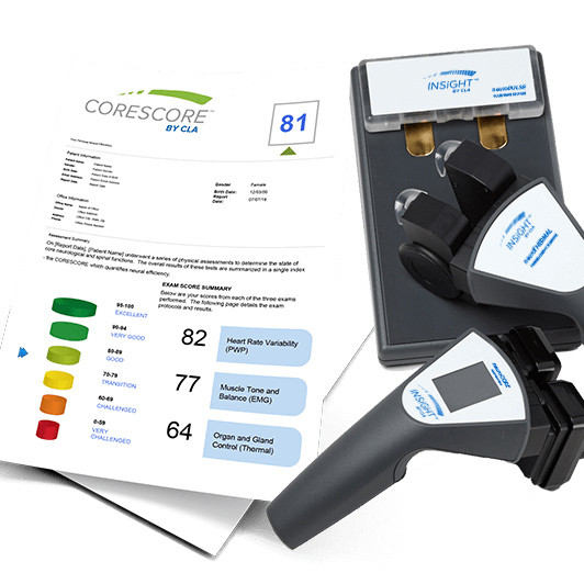 CORE-score anaylsis, spine scan, emg, hrv, thermal.