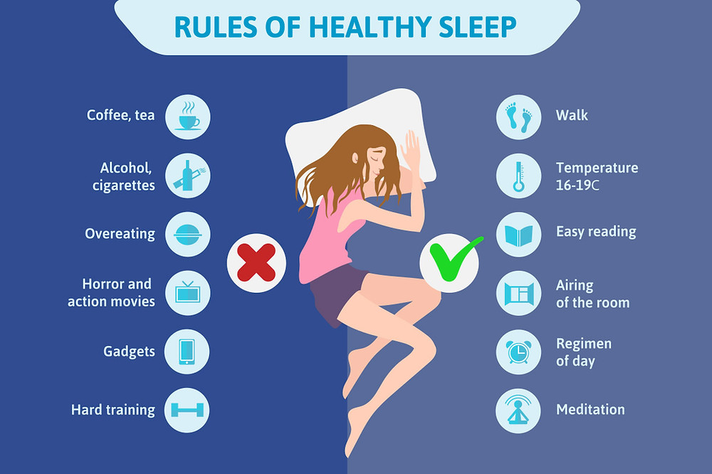 healthy sleeping infographic, to do and not to do