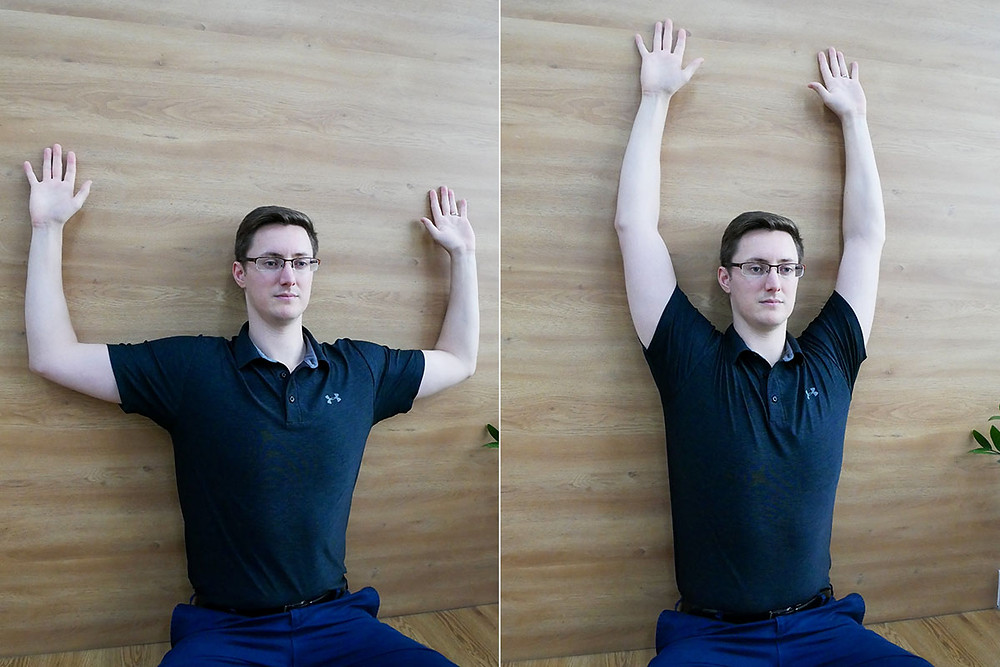 seated angel movement for scapular shoulder mobility