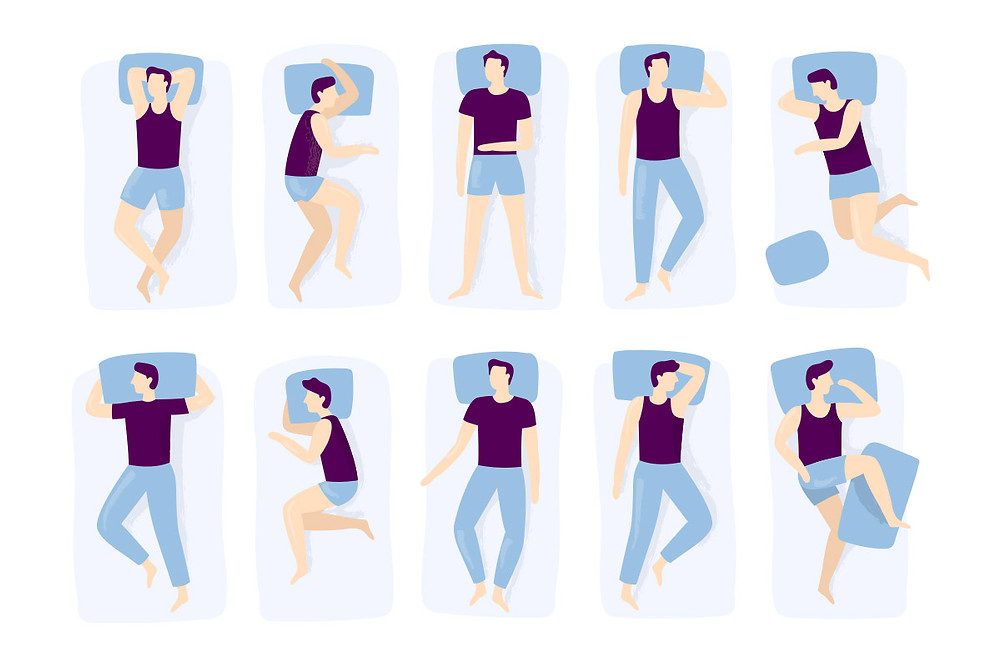 Comic of different sleeping positions and sleep styles