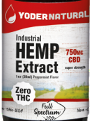 Yoders Naturals Industrial Hemp Extract,750mg, 1oz(30ml)