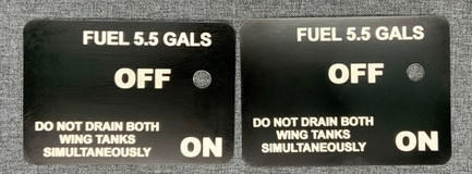 Aeronca Fuel Selector Placard