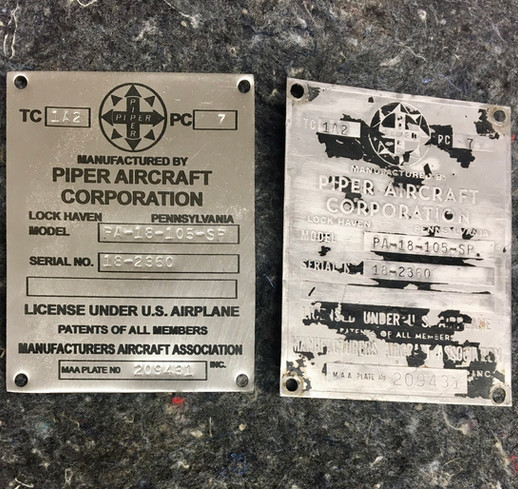 Piper Data Plate