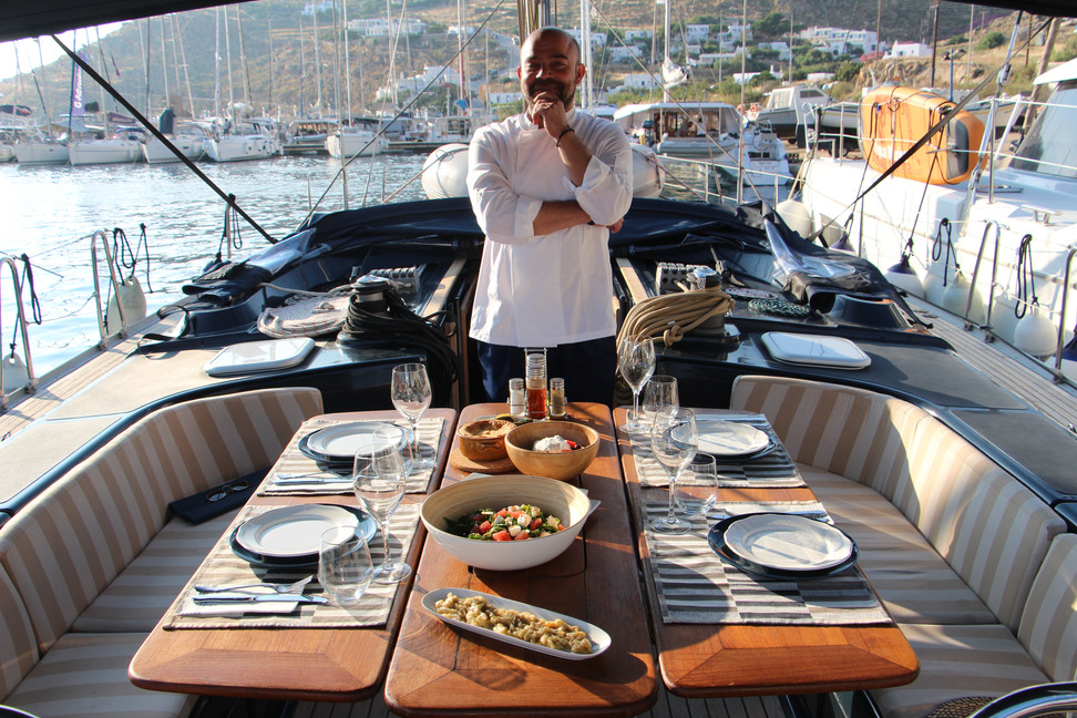 Welcome on board. Our chef is always available to make you a delicous meal while you enjoy the boat life.