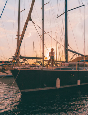 Sunset on the port.