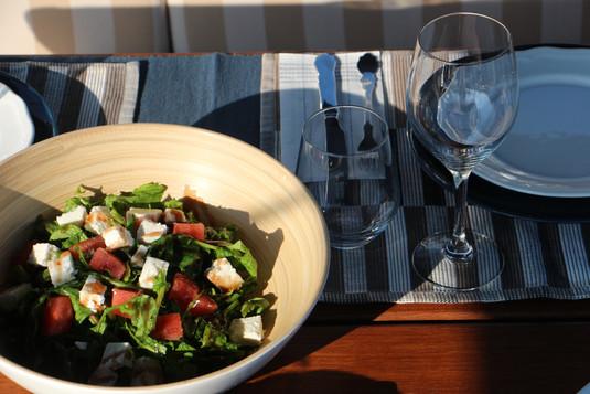 Watermelon arugula salad. With feta. Yum.