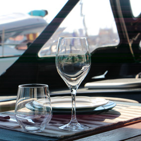 Lunch on a sailing boat