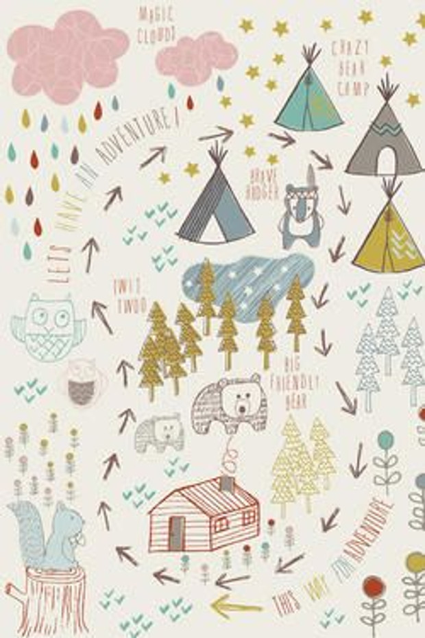 Affiche vintage pour chambre d 39 enfant petit indien - Papier peint vintage enfant ...